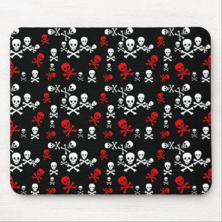 Red & White Skull & Crossbones Black Mouse Pad