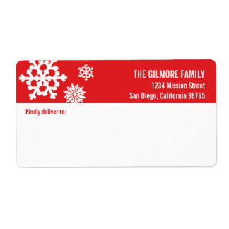 Red white snow flakes holiday shipping address label