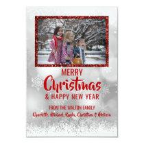 RED White Snow Glitter Christmas New Year | PHOTO Invitation