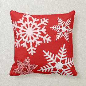 Red White Snow Pattern Winter Christmas Pillows