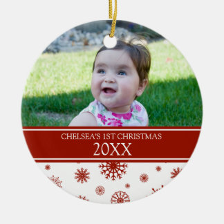 Red White Snow Photo Baby's 1st Christmas Ornament