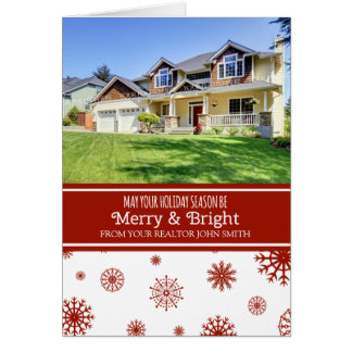Red White Snow Realtor Merry & Bright Photo Card