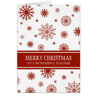 Red White Snow Teacher Merry Christmas Card