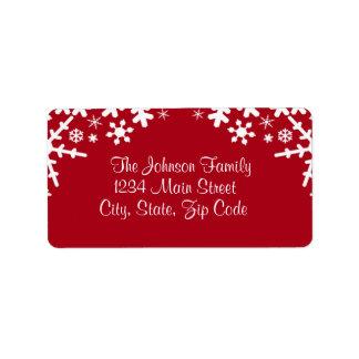 Red & White Snowflake address label, customizable Address Label
