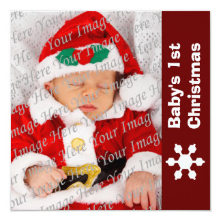 Red & White Snowflake Baby's 1st Christmas Card