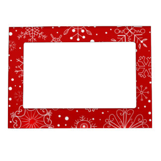Red & White Snowflake Christmas Design Magnetic Photo Frame