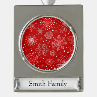Red & White Snowflake Christmas Design Silver Plated Banner Ornament