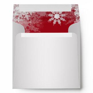 Red White Snowflake Christmas Envelopes