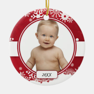Red & White Snowflake Christmas Ornament