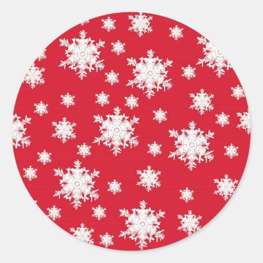 Red & White Snowflake Design Classic Round Sticker