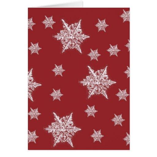 Red & White Snowflake Design Greeting Card