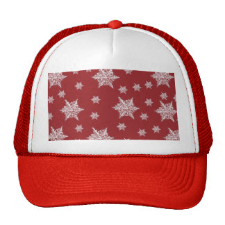 Red & White Snowflake Design Trucker Hat