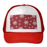 Red & White Snowflake Design Mesh Hat