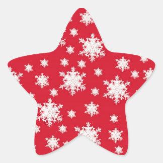 Red & White Snowflake Design Star Sticker