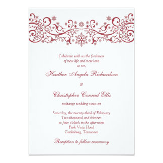 Red White Snowflake Floral Wedding Invitation