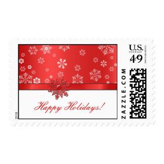 Red & White Snowflake Happy Holidays Postage