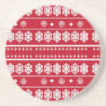 red white snowflake pattern coasters