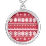 red white snowflake pattern necklace