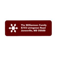 Red & White Snowflake Return Address Labels label