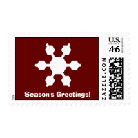 Red & White Snowflake Season's Greetings Postage stamp
