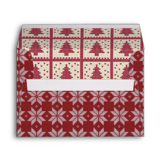 Red White Snowflake Tree Ugly Christmas Sweater Envelope