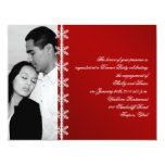 "Red White Snowflake Winter Wedding Engagement 4.25"" X 5.5"" Invitation Card"