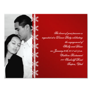 Red White Snowflake Winter Wedding Engagement Personalized Invites