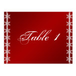 Red White Snowflake Winter Wedding Table Number Postcard