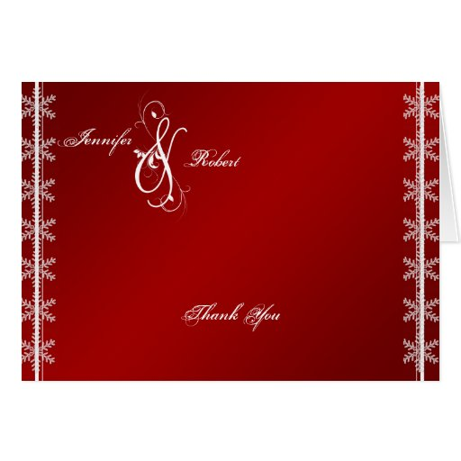 Red White Snowflake Winter Wedding Thank You Greeting Cards