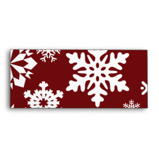 Red White Snowflakes Christmas Holiday Pattern Envelopes