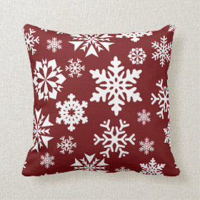 Red White Snowflakes Christmas Holiday Pattern Pillows