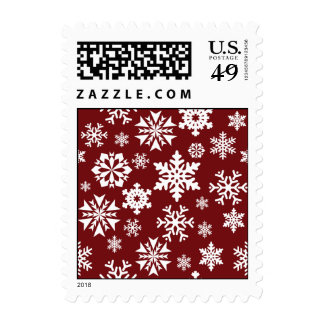 Red White Snowflakes Christmas Holiday Pattern Postage Stamps