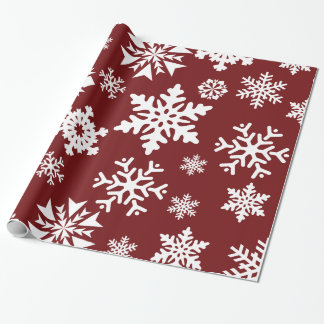 Red White Snowflakes Christmas Holiday Pattern Wrapping Paper