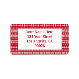 Red White Snowflakes Christmas pattern Label