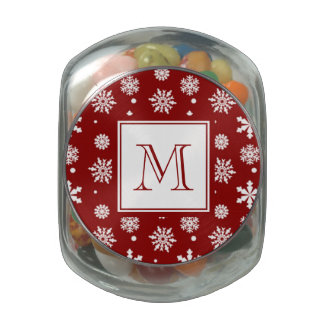 Red White Snowflakes Pattern 1 with Monogram Glass Candy Jar