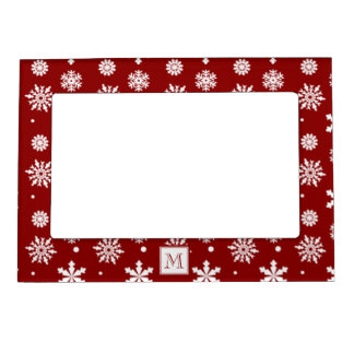 Red White Snowflakes Pattern 1 with Monogram Magnetic Frame