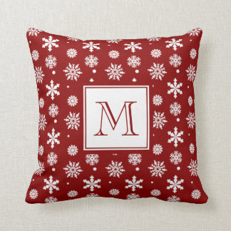 Red White Snowflakes Pattern 1 with Monogram Pillow