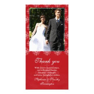 Red + white snowflakes wedding thank you photo photo card