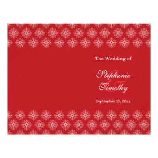 Red + white snowflakes winter wedding program