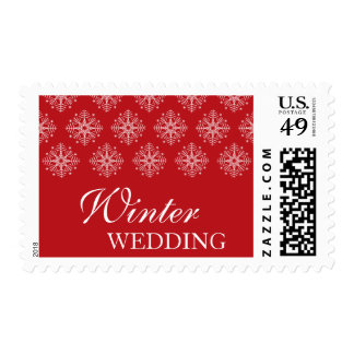 Red + white snowflakes winter wedding stamps