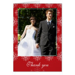Red + white snowflakes winter wedding thank you greeting card