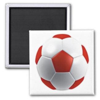 red white soccer ball sports teams fun active fridge magnet