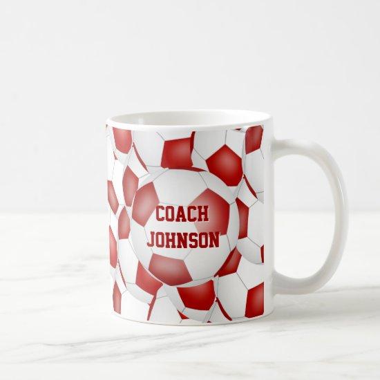 red white soccer school team colors coach gift coffee mug