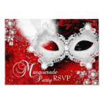 Red White Sparkle Mask Masquerade Party RSVP 3.5x5 Paper Invitation Card