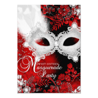 Red & White sparkle Mask Masquerade Sweet 16 5x7 Paper Invitation Card