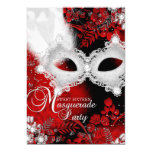 Red White sparkle Mask Masquerade Sweet 16 Card