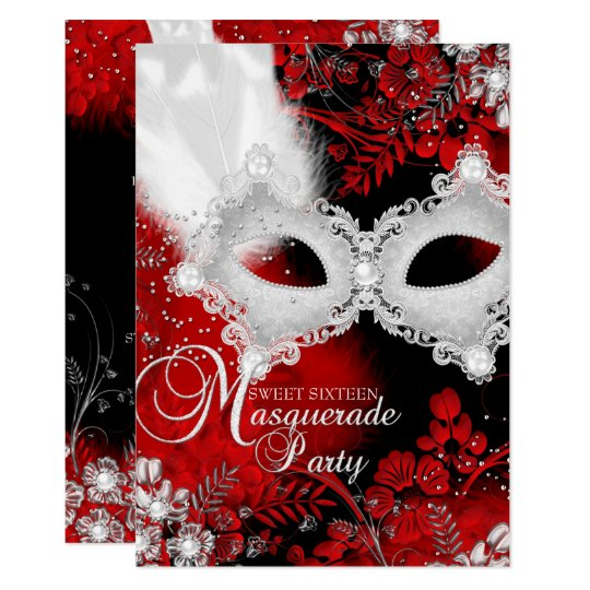 red white sparkle mask masquerade sweet 16 invitation