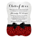 Red/White Sparkly Bow Shaped Graduation Invitation Personalized Invite