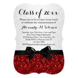 Red/White Sparkly Bow Shaped Graduation Invitation