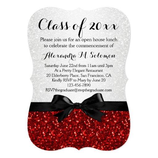 Red/White Sparkly Bow Shaped Graduation Invitation Personalized Invite